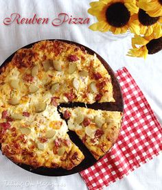 Reuben Pizza | Taking On Magazines | www.takingonmagazines.com | All the flavors of the iconic sandwich in a delicious pizza.