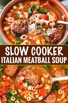 28 Weight Watchers Crockpot Recipes with Smartpoints: Slow Cooking Meals For Busy Nights This Slow Cooker Italian Meatball Soup is hearty, easy, and incredibly satisfying! You'll never guess it's only 4 smart points per serving. Best Slow Cooker, Slow Cooker Soup, Slow Cooker Recipes, Cooking Recipes, Healthy Recipes, Cooking Ribs, Keto Recipes, Healthy Lunches, Freezer Cooking