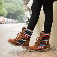 Id wear these colorful boots with a rather plain, solid color outfit. Belted Knit Panel Lace-Up Boots Shoes Sneakers, Cute Shoes, Me Too Shoes, Trendy Shoes, Just Keep Walking, Over Boots, Look Fashion, Womens Fashion, Men Boots
