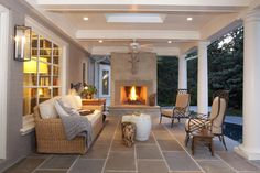 16 Appealing Traditional Porch Designs Youll Enjoy Every Day Outdoor Rooms, Outdoor Living, Outdoor Decor, Outdoor Fire, Outdoor Ideas, Outdoor Furniture, Traditional Porch, Traditional Design, Pergola