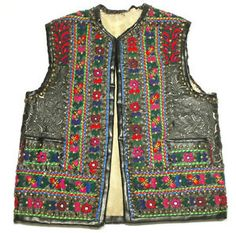 Ethnic Embroidered Vest Romanian Folk Costume Peasant Art Leather Applique Old | eBay