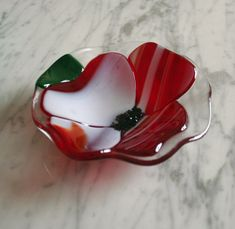 Fused glass bowl Home & Living Red white poppy by Glasspainter1, $25.00