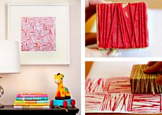 Modern Parents Messy Kids: yarn block print