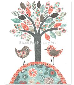 Aqua, Coral, Navy Nursery, Nursery Birds, Nursery Tree Art Print, Aqua and Coral, Girl nursery,  8 x 10 Print, Cute Nursery Art, Shabby Chic on Etsy, $15.00
