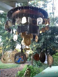 Race Medal wind chimes! I like the idea of Christmas ornaments too.