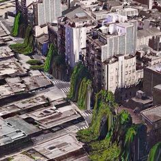 "Apple's troubled 3D map app produces unexpected beauty - here a collection of glitches by Peder Norrby.  ""Houses throwing up trees"", Barcelona 