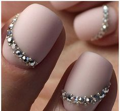 Opting for bright colours or intricate nail art isn't a must anymore. This year, nude nail designs are becoming a trend. Here are some nude nail designs. Swarovski Nails, Rhinestone Nails, Swarovski Crystals, Bride Nails, Wedding Nails, Fancy Nails, Love Nails, Gorgeous Nails, Pretty Nails