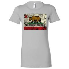 California State Flag Distressed Ladies Fitted T-Shirt
