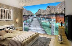 Papier peint trompe l'oeil 3D - Paysage traopical maisons flottantes Cozy Bedroom, Bedroom Ideas, Maldives, Home Fashion, Decoration, Photos, Mansions, House Styles, Tropical