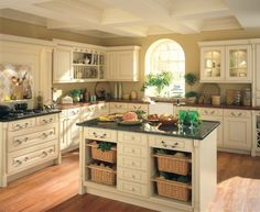 Kitchen. Neutral Beige Classic Kitchen with Island Design Layout Ideas with Black and Brown Marble Countertops plus Solid Wood Floors and Smart Space-Saving Storage Ideas with Wall-Mounted Cabinets and Floating Wicker Baskets. Inspiring Kitchen with Island Design Layouts