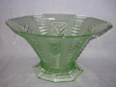 Uranium green vase by Brockwitz pattern 9069 Green Vase, Pressed Glass, Vintage Glassware, Dresden, Depression, German, Pattern, Beautiful, Home Decor