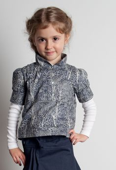 Redfish Kids Clothing Online Store - Rumi Blouse w Navy Trees