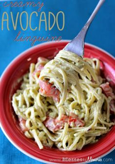 CREAMY AVOCADO PASTA--A delicious, healthy, budget friendly dinner on the table in 15 minutes... from Messes to Memories
