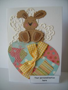 OOAK Personalised Easter Bunny Card  Yellow by AuntyJoanCrafts, £2.50