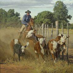 Caught A Little Deep by Bill Owen ~ The Cowboy Artist