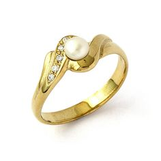 Antique Style Diamonds Pearl Engagement Ring In By Julietandoliver 480 00 And Diamond