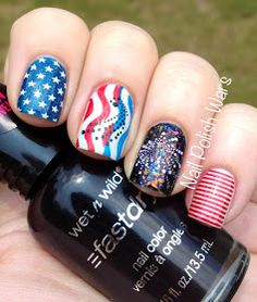 Fireworks 4th of July nail art.  Flash,  stars & stripes,  red,  white & blue