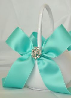 White and Tiffany Blue Wedding Flower Girl by weddingsandsuch