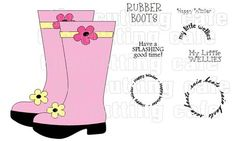 The Cutting Cafe': RAIN BOOTS SHAPED CARD TEMPLATE - CUTTING FILE SET