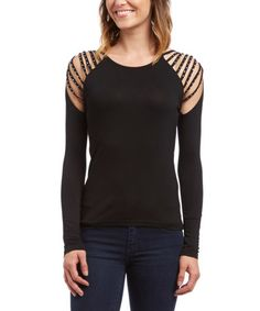 Loving this Black Cutout Crystal Top on #zulily! #zulilyfinds