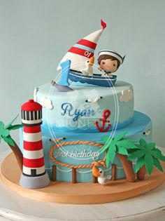 ♡ marine birthday cake for 1 year old Más Nautical Birthday Cakes, Nautical Cake, First Birthday Cakes, Nautical Theme, Ocean Cakes, Beach Cakes, Fancy Cakes, Cute Cakes, Pink Cakes