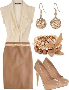 Love EVERYTHING about this for the office to happy hour.  Nude heels, tan pencil skirt, the thin bow belt, light ruffly blouse, sparkle drop earrings, and pearls in champagne bronze theme.
