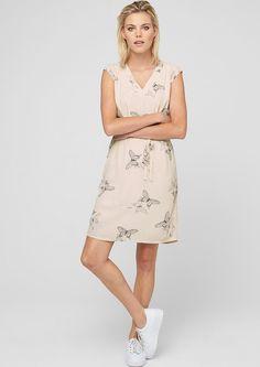 s.Oliver Sommerkleid mit Musterprint, weiß