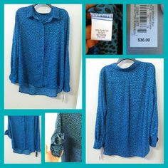 Cute Teal & Black Button Down Blouse NWT Apt. 9 Cute Teal & Black Button Down Blouse.  You can wear the sleeves completely down full length to wrist or 1/4 sleeve by buttoning the side of the sleeve. Apt. 9 Tops Button Down Shirts