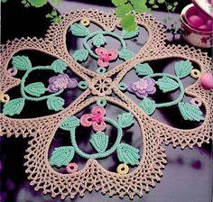 Fancy four-leaf clover irish crochet doily pattern - marinella