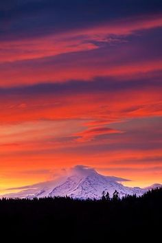 """""""In the ancient Hindu tradition, the goddess Aisha's embodies the dawn. Radiant and ever youthful, she wraps her body in garments of red."""" Dawn to Dark Photography, National Geographic Mt. Rainier at Dawn"""