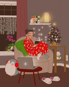 Christmas Illustration, Cute Illustration, Girl Cartoon, Cartoon Art, People Reading, Pop Art Wallpaper, Reading Art, Christmas Mood, Cute Cartoon Wallpapers