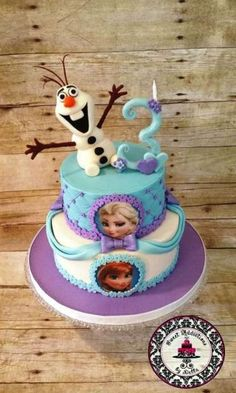 This cake was a fun one to make. The client requested a certain cake but allowed me to interpret it in my own way. So I created Olaf reaching out for warm hugs and added my own custom created #3 candle made out of fondant.