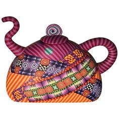 Modern Signed Karyn Kozak Polymer Clay Teapot ($287) ❤ liked on Polyvore featuring home, kitchen & dining, teapots, coffee & tea service, tea-pot, tea pot, modern teapot and modern tea pot