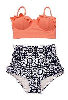 Women Swimsuits, High Waist Bathing Suit, Plus Size Swimwear, Various Colors