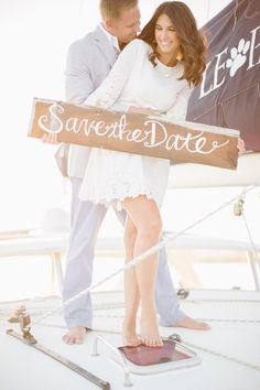 nautical with wood save the date sign / jlaynephotography.com
