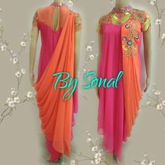 Pink And Peach Drape Kurti - Indian Attire, Indian Wear, Indian Style, Kurta Designs, Blouse Designs, Indian Dresses, Indian Outfits, Saree Gown, Draped Dress