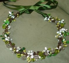 Green Woodsy Hair Wreath Fascinator with Bling by lovelygifts, $35.00