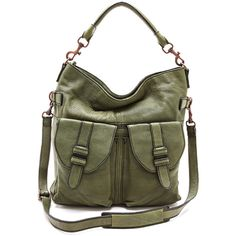 Liebeskind Margo Shoulder Bag (745 BRL) ❤ liked on Polyvore featuring bags, handbags, shoulder bags, purses, accessories, bolsas, green, green purse, genuine leather shoulder bag and shoulder strap bag