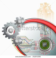 Processor Chip on circular, metallic device connected with electronic circuit and in front cogwheels as symbol of technology. Royalty Free Images, Royalty Free Stock Photos, Electronic Circuit, Technology Background, Abstract Images, Type Setting, Vectors, Symbols, Illustrations