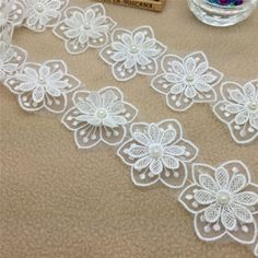 New diy 1yards #2-layer white #embroidered flower #applique pearl core lace trim, View more on the LINK: http://www.zeppy.io/product/gb/2/291663136309/