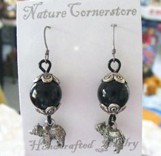 Pewter and Glass Bear Earrings | NatureCornerstore - Jewelry on ArtFire