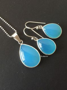 Blue chalcedony jewelry sets sterling silver, Handmade bridal gifts