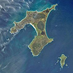 Chatham Islands - Wikipedia, the free encyclopedia - The Chathams from space.  Pitt Island bottom right