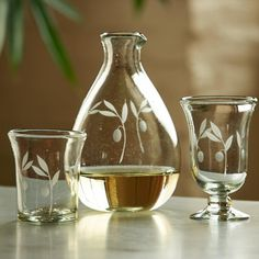 Olive Branch Etched Wine Decanter & Glassware Collection | VivaTerra