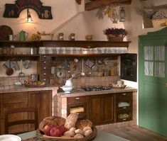 Stile country Rustic Kitchen, Country Kitchen, Bedroom Wall Colors, Green Cabinets, Green Kitchen, Vintage Country, Apartment Kitchen, Fixer Upper, Liquor Cabinet