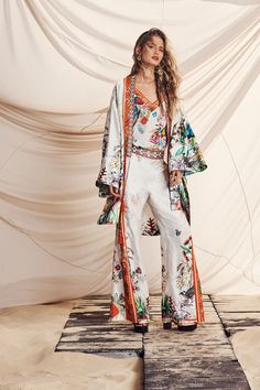 The Perfect Hint of Bohemian Style Shines Bright In This Collection From Camilla Bohemian Pants, Boho Kimono, Kimono Fashion, Bohemian Style, Boho Fashion, Fashion Outfits, Womens Fashion, Fashion Trends, Kimono Outfit