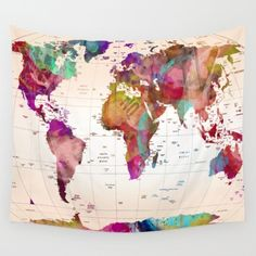 World map wall tapestry vintage map dorm room decor blue and landmarktypography map map of the world map wall tapestry gumiabroncs Image collections