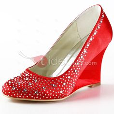 Elegant Diamonds Red Satin Wedding Shoes : Tidebuy.com