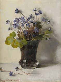 Still Life with  Blåsippor (1889) - Fanny Elisabeth W.Hejlm (Swedish, 1858–1944) Cozyhuarique