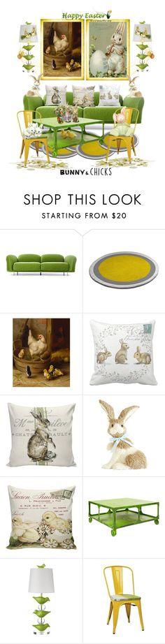 """""""Bunnies & Chicks for the Easter Home"""" by ragnh-mjos ❤ liked on Polyvore featuring interior, interiors, interior design, home, home decor, interior decorating, Moooi, Pier 1 Imports, Stray Dog Designs and Office Star"""